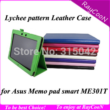 Lychee PU Leather Stand Cover for Asus Memo Pad 10 Smart ME301T, ME301T PU Leather case, 9 color, free shipping