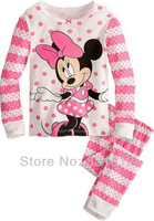 Children cotton clothing set girl's minnie suit children sleepwear baby pajamas 6sets/lot