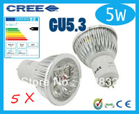 Factory directly sale CREE bulb led bulb 5pcs/lot GU5.3 5w 5x1W 110V 220V Dimmable led Light led lamp spotlight free shipping