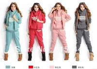 Quality General,Women Autumn Fashion Hoodies Suit , Thickening Leisure Sports Hoodie (Hoody,Panty,Vest) 3pcs Sets
