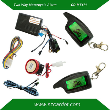 Hot selling russian two way motorcycle alarm,LCD remotes vibration and light alarm,long distance remote,LED indicator,free ship