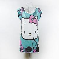 2013 women's basics kitty paillette mm black o-neck plus size XXXL XXXXL women clothes brand T-shirt design
