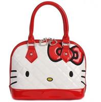New Arrival!!2013 Fashion Cute Bow  Hello Kitty  Pu  tote bag handbag   shoulder  Free Shipping White Pink Black Model2