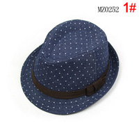 Spring and summer child hat solid color denim child jazz fedoras hat small