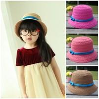Summer brief elegant child bucket hats baby strawhat sunbonnet female child hat princess hat