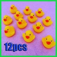 12pcs/lot  mini Rubber  bath duck with sound Floating Duck Whole Sale/2013 Hotsale[02062]