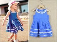 1pc Retail, Girls Polker Dot Flowers Short Sleeve Fashion Princess Dress, Kids Summer Wear, IN STOCK, freeshipping