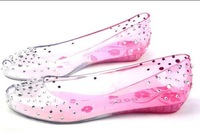 Melissa Summer 2014 Rhinestone Open Toe shoes women's Diamond Crystal Sandals Jelly Flats