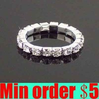 (Min order $5,can mix) Silver Plated Crystal Rhinestone Ring Single Row Ring Adjustable Ring Free Shipping