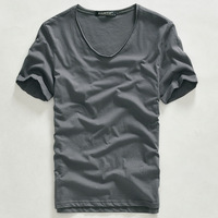 Roll-up hem t-shirt v-neck T-shirt male short-sleeve slim casual short-sleeve t male 100% cotton male short-sleeve