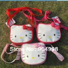 Hello Kitty messenger bag for Children PU leather 3 colors available Freee Shipping(China (Mainland))