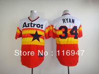 Free Shipping Houston Astros 34 Nolan Ryan Throwback Retro Rainbow White Dark Blue Top Jerseys size 48-56
