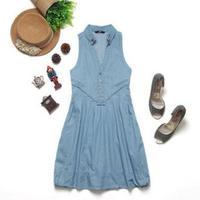 Light blue 2012hm gentlewomen lacing denim one-piece dress fashion loose tank dress