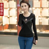 2013 spring women's patchwork rhinestones o-neck long-sleeve T-shirt basic shirt