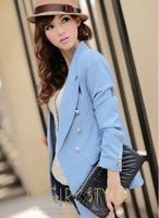 2012 blue shoulder pads double breasted ol medium-long suit female outerwear spring