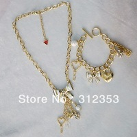 free ship!!! 5 sets women fshion bowknot jewelry set necklace + bracelet  Key with crystal jewelry set