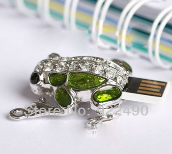 Wholesale Full Capacity 2G/4G/8G/16G/32G flash drive pen drive usb flash drive Green Frog Free shipping+Drop shipping,JU066-1