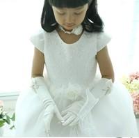 Bow flower girl formal dress child wedding formal dress princess dress costume accessories toe long gloves