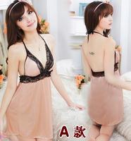 Female noble elegant faux silk temptation translucent sexy sleepwear summer short nightgown