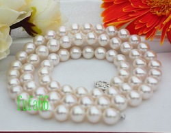 New Fine Pearl Jewelry natural20&quot; PERFECT!AAA++ 8.5MM WHITE AKOYA PEARL NECKLACE 14KT(China (Mainland))