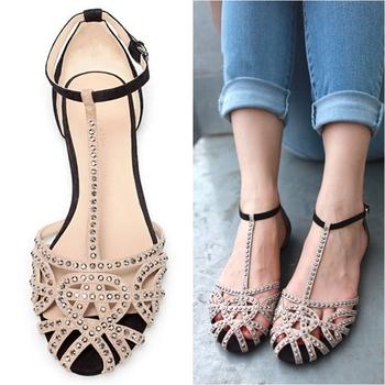Hot sale designer Flat sandals women summer shoes women sandal 2014 rhinestone cutout  beauty fashion ladies shoe free shipping
