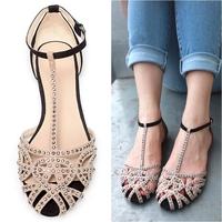 Hot sale brand new 2014 fashion women Flat sandals rhinestone cutout summer shoes High quality open toe ladies shoes