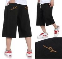 Top rocawear embroidery black brief hiphop delicate denim capris 2014
