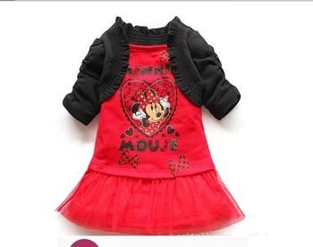 free shipping 2013 fashion kids girl cartoon Minnie print lace dress / black cape,chiffon lace, red cute dress 5pcs/lot