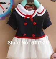 girls lapel veil cardigan children fitted lace dress Deep Blue