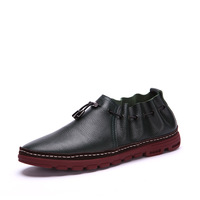 The First Layer Of Leather Color Block Decoration Magic Button Shoes Lazy Handmade Casual Shoes Men