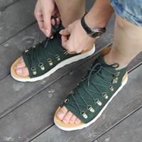 Men's genuine leather open toe shoes platform flat heel sandals fashion vintage rivets men's