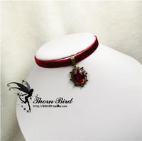 Vintage gothic queen gem velvet lace female short design collapsibility collar necklace
