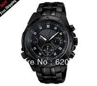 Hot sales Men pure black watch EF-535BK-1AV EF-535BK 535BK Men's Chronograph Sport waterproof Wrist Watch freeshipping