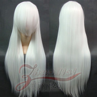 Cosplay wig white 80cm straight hair high temperature wire mercury lamp