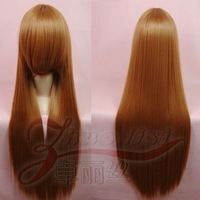 Cosplay wig 80 gold brown high temperature wire green star stone red cos wig