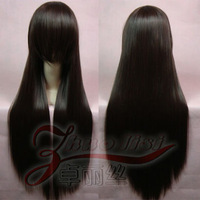 Cosplay wig deep brown 80cm cos long straight hair