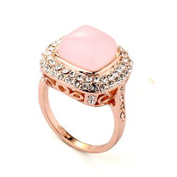 New Italian 18K Gold Plated Pink Simulated Opal Stone Vintage Finger Rings Wholesale Jewerly Free Shipping(China (Mainland))
