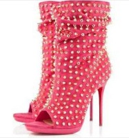 PINK STRETCH SUEDE WITH GOLD STUDS OPEN TOE Red Bottom PUMPS