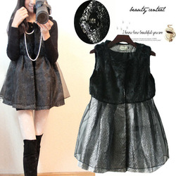 New arrival faux rabbit fur patchwork organza silver sleeveless one-piece dress 871 all-match(China (Mainland))