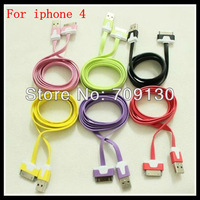 WHOLESALE 500PCS/lot 1M METRE LONG FLAT USB DATA SYNC CHARGER CABLE FOR IPHONEN4 IPHONE4S