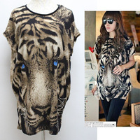 New arrivel 2014 summer women's fashion Tiger Printed T-shirt Long Tops,short-sleeve Popular T shirt Animal Pattern T1115