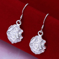 E066 Wholesale 925 silver earrings, 925 silver fashion jewelry, Rose Earrings