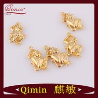 Wholesale Fashion Jewelry 24K Gold Filled Monkey Design Animal Charms Pendant +Opp+Card Packing Fashion Pendants Free Shipping