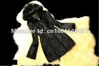 Factory Direct Sale New Stylish Women's Long Black Sheared Mink Fur Coat/Garment With Hooded as Christmas Day Gift