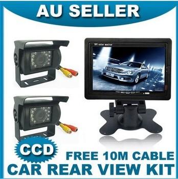 "display CAR REAR VIEW KIT 2X IR CCD REVERSING CAMERA +7"" LCD MONITOR+2X 10M CABLE"