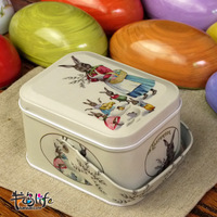free shipping(mix order above $10) Easter series knopper square box magic rabbit storage tin zakka tin