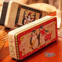 free shipping(mix order above $10) New arrival ! christmas winter rectangular storage tin zakka box stationery box