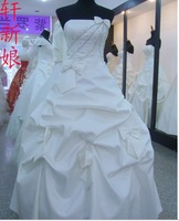 246 Free shipping newest women fashion sexy strapless pleated beading bow gown wedding bridal dress
