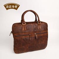 2013 - Brown Genuine leather Satchel / Messenger Bag /Computer briefcase /Firstt layer cowhide vintage handbag men's briefcase