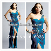 Classic Sheath beaded One Shoulder Satin prom dress